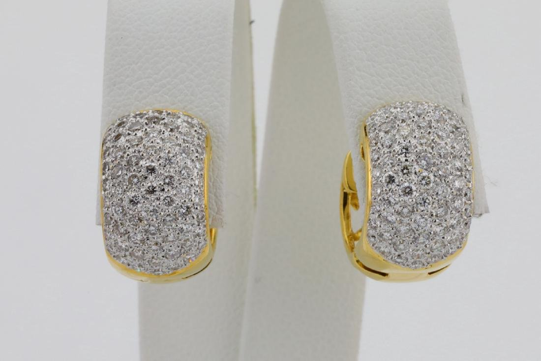 2.50ctw VS1-VS2/G-H Diamond & 18K Hoop Earrings - 6