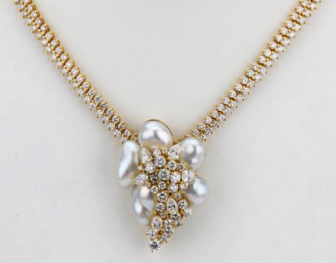 Henry Dunay 16ctw Diamond & Pearl Necklace/Brooch