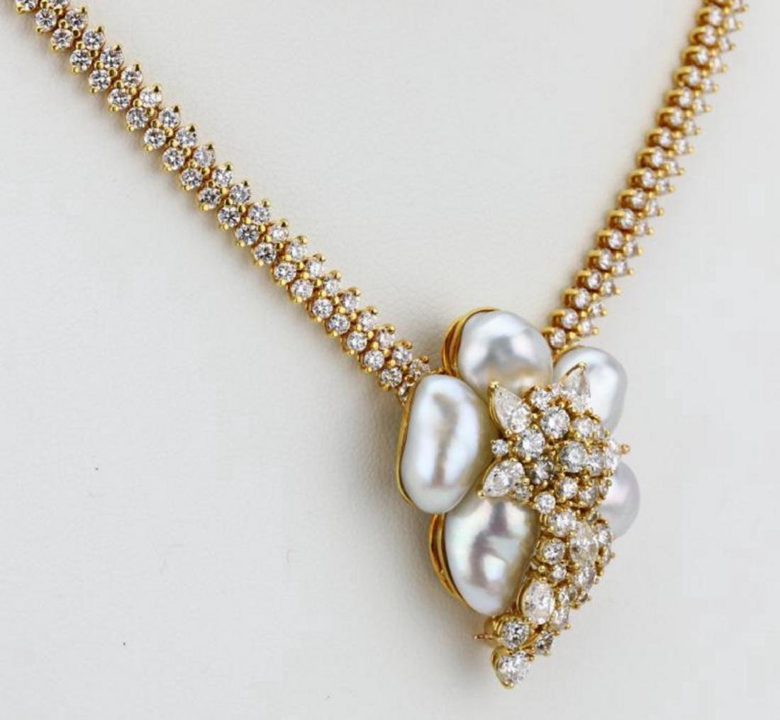 Henry Dunay 16ctw Diamond & Pearl Necklace/Brooch - 4