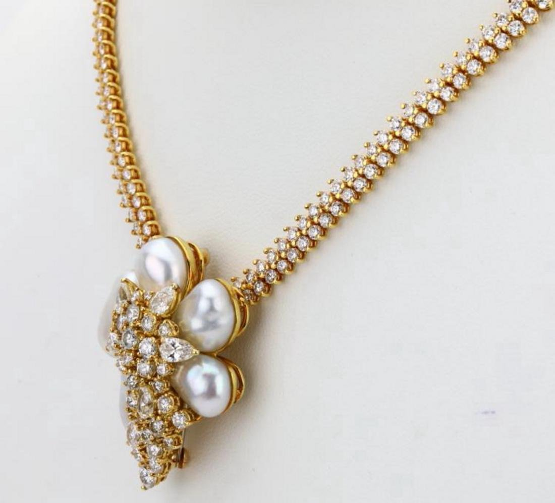 Henry Dunay 16ctw Diamond & Pearl Necklace/Brooch - 7