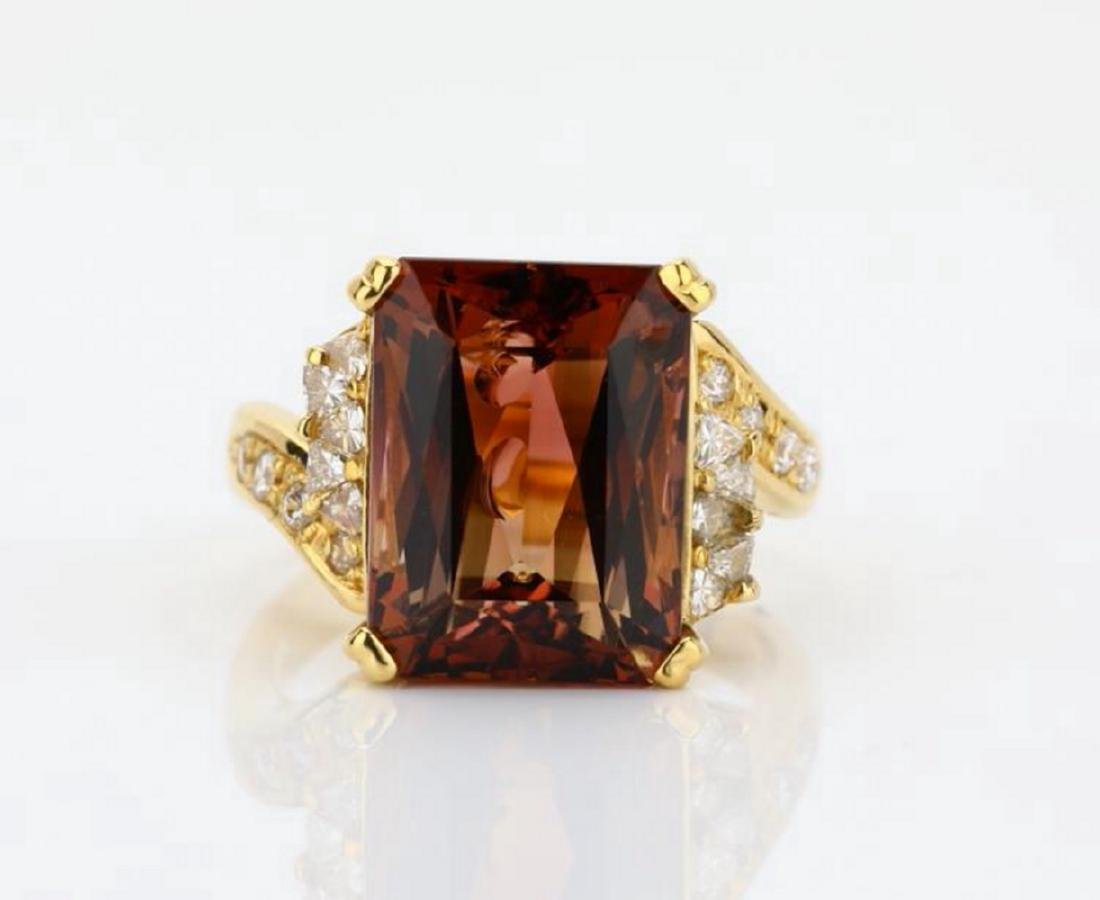 8.75ct Peach Tourmaline & 18K Ring W/Diamonds