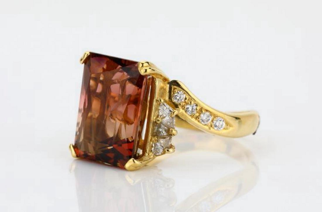 8.75ct Peach Tourmaline & 18K Ring W/Diamonds - 2