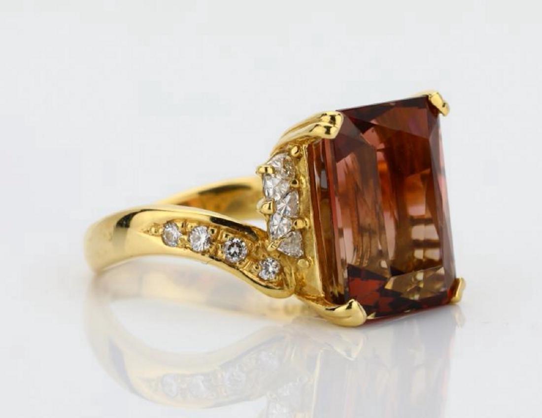 8.75ct Peach Tourmaline & 18K Ring W/Diamonds - 3