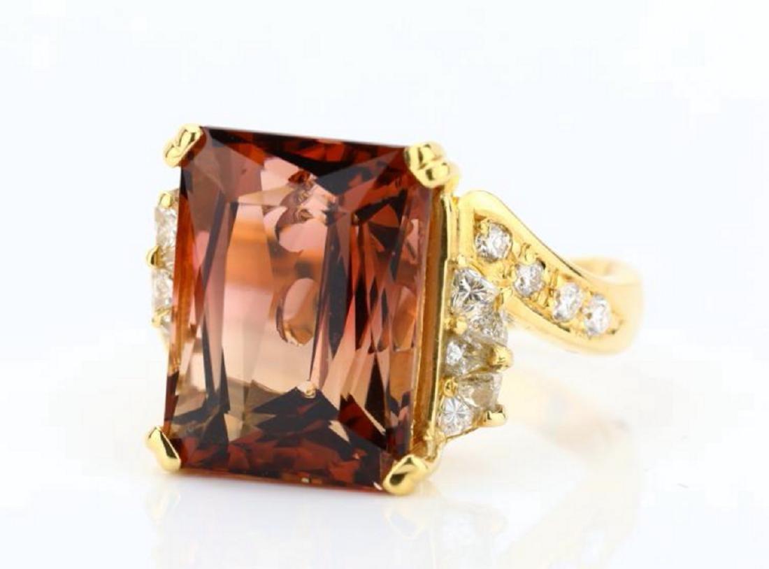 8.75ct Peach Tourmaline & 18K Ring W/Diamonds - 4
