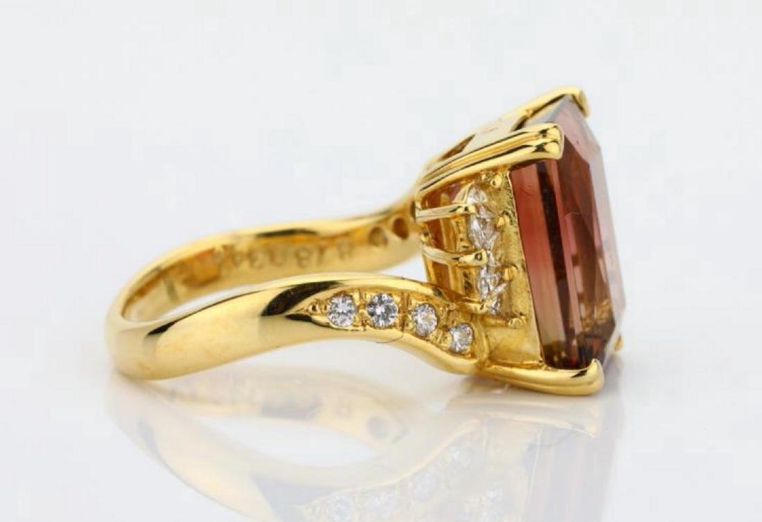 8.75ct Peach Tourmaline & 18K Ring W/Diamonds - 5