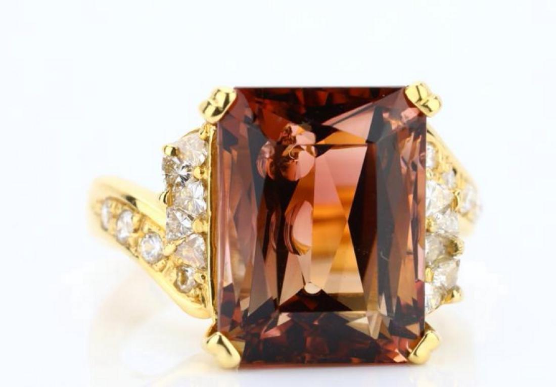 8.75ct Peach Tourmaline & 18K Ring W/Diamonds - 6