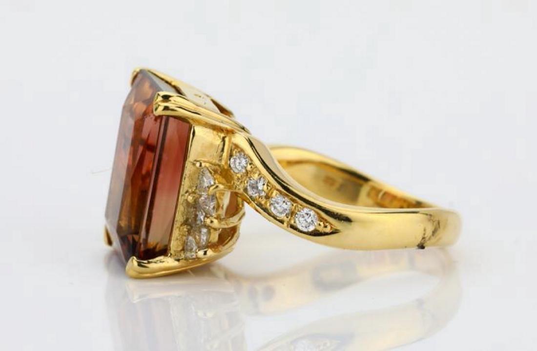 8.75ct Peach Tourmaline & 18K Ring W/Diamonds - 7