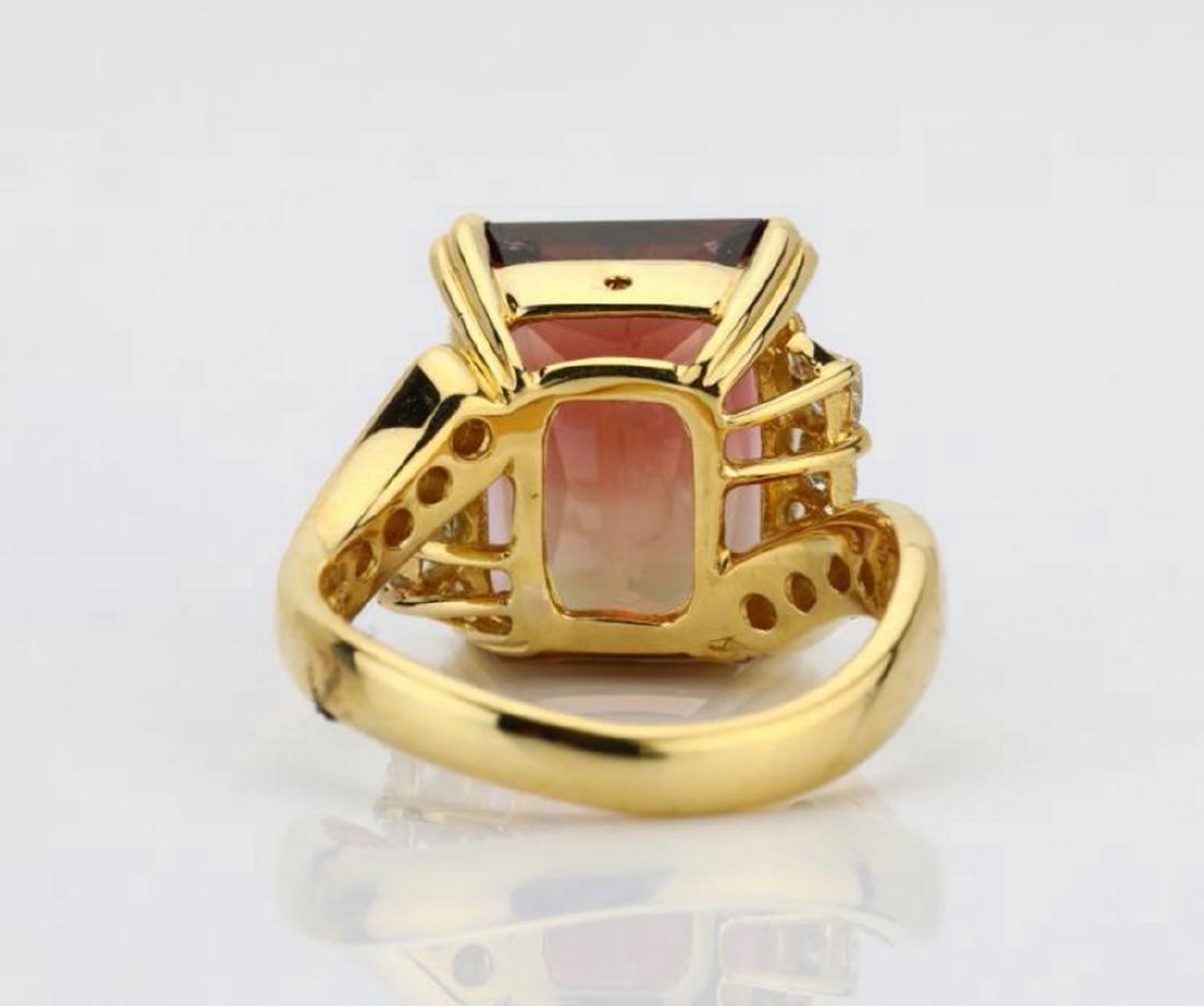 8.75ct Peach Tourmaline & 18K Ring W/Diamonds - 8