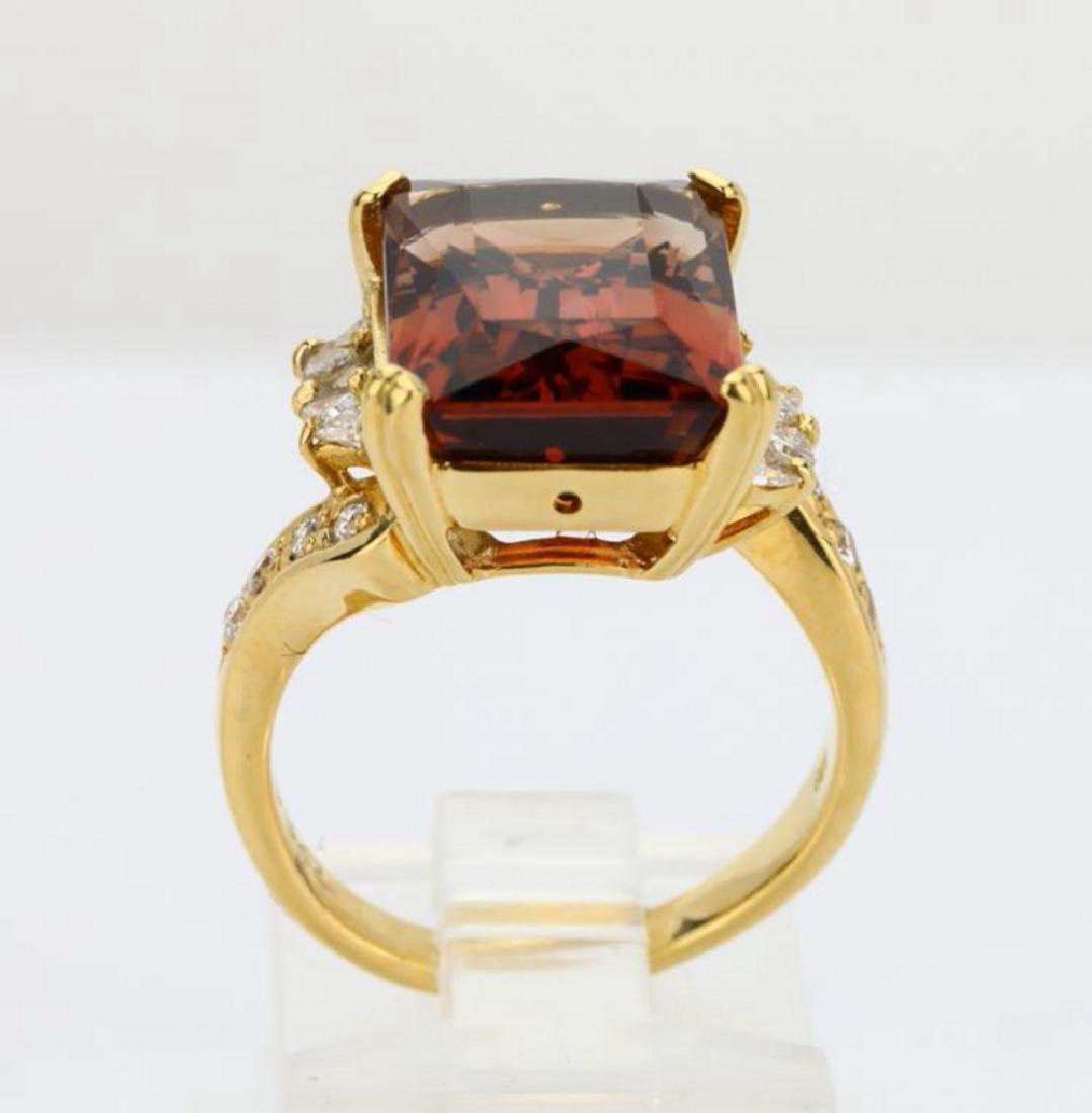 8.75ct Peach Tourmaline & 18K Ring W/Diamonds - 9