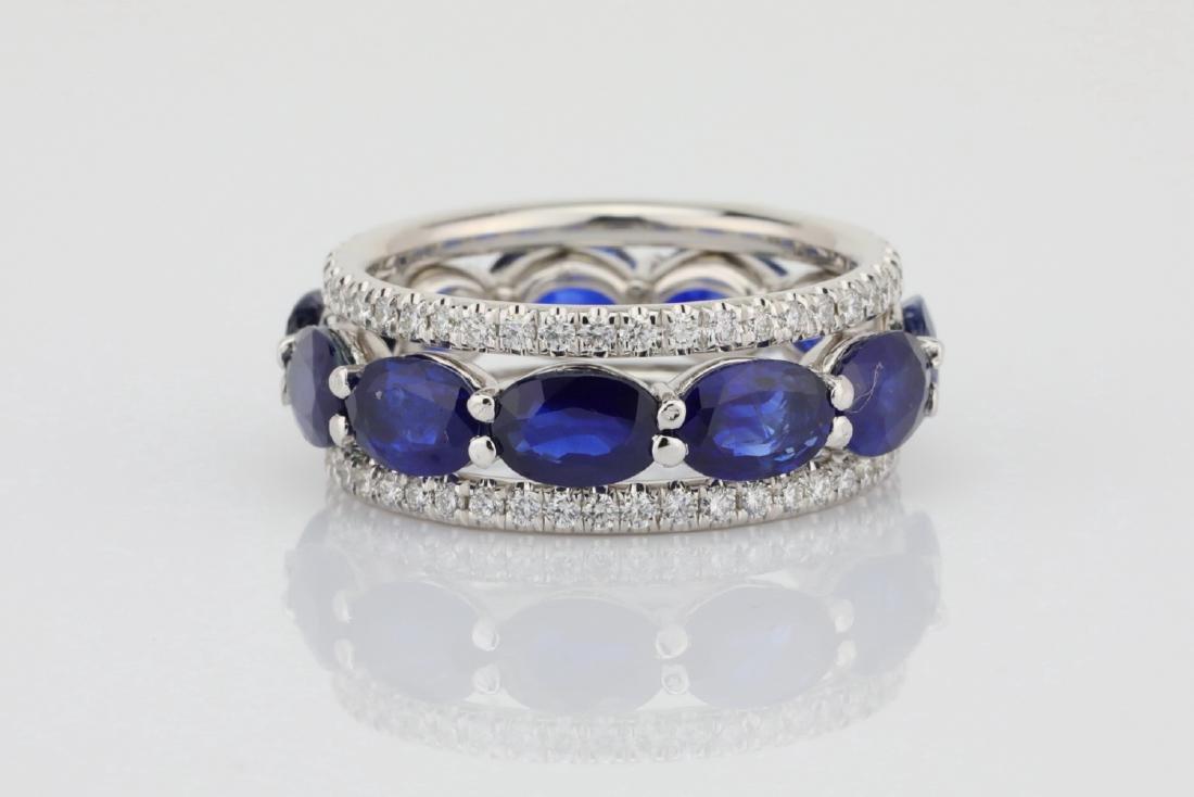 5.50ctw Blue Sapphire, 1.30ctw Diamond & 18K Ring