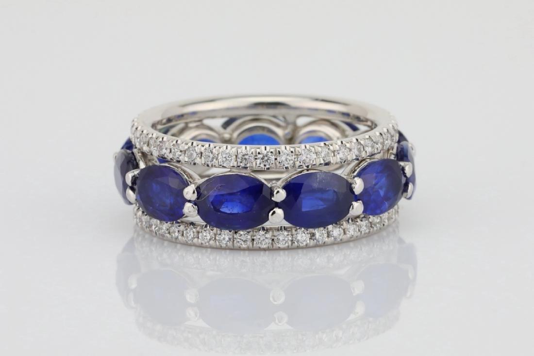 5.50ctw Blue Sapphire, 1.30ctw Diamond & 18K Ring - 2