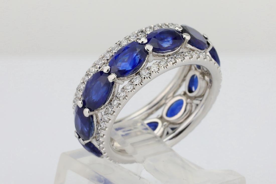 5.50ctw Blue Sapphire, 1.30ctw Diamond & 18K Ring - 4