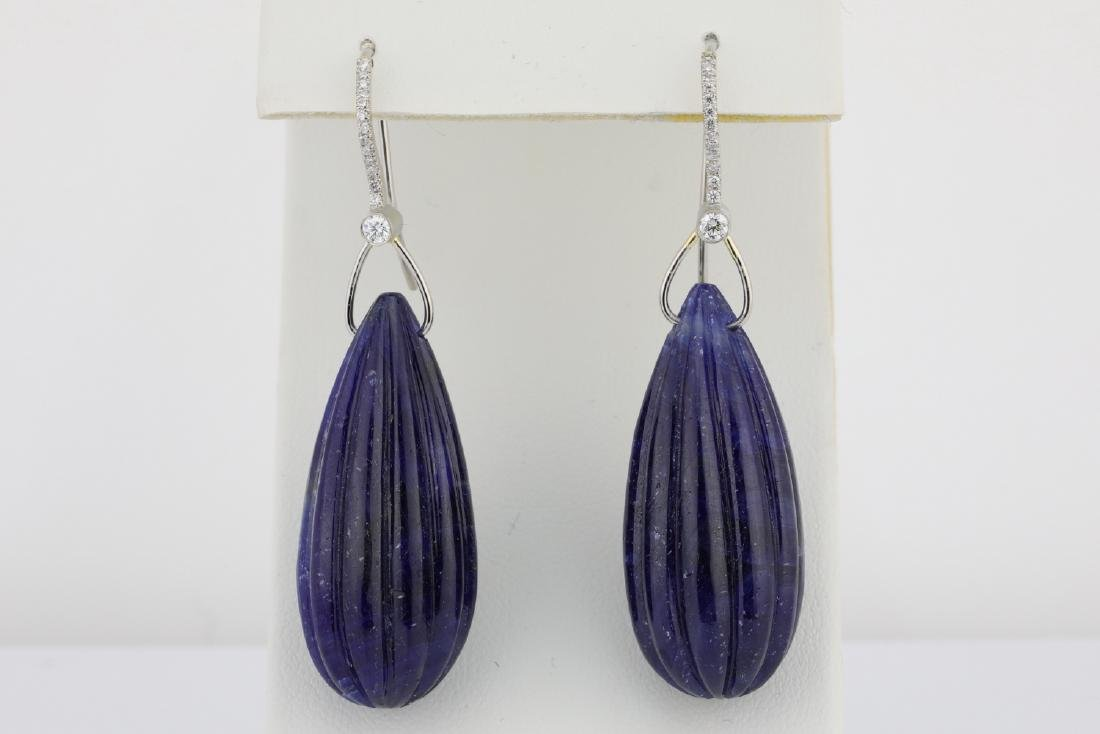 166ctw Carved Blue Sapphire & Platinum Earrings