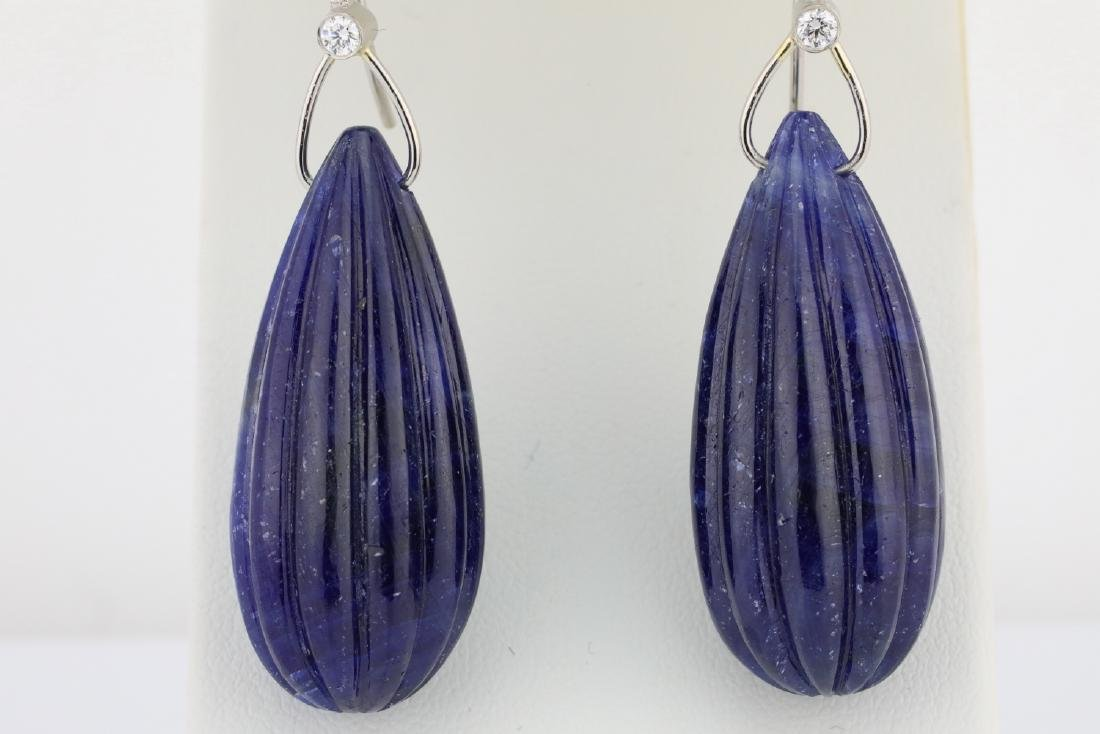 166ctw Carved Blue Sapphire & Platinum Earrings - 2