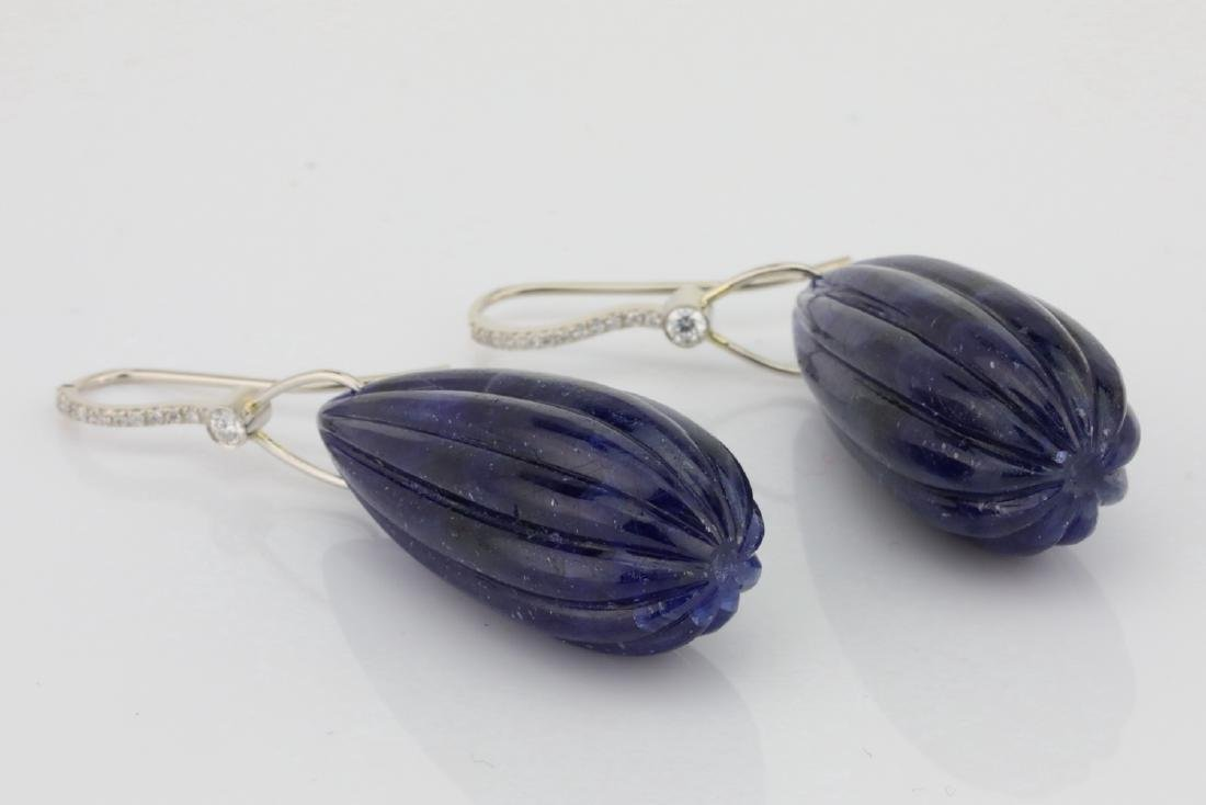 166ctw Carved Blue Sapphire & Platinum Earrings - 5