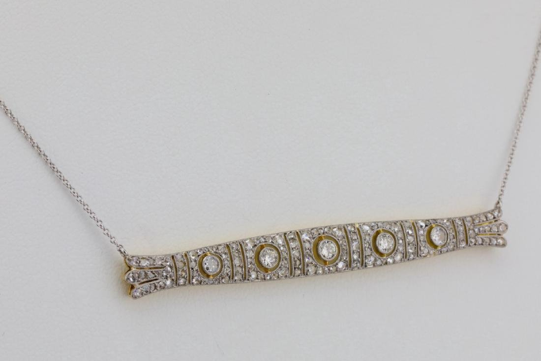 "1.50ctw Diamond, Platinum/14K Antique 16"" Necklace - 4"
