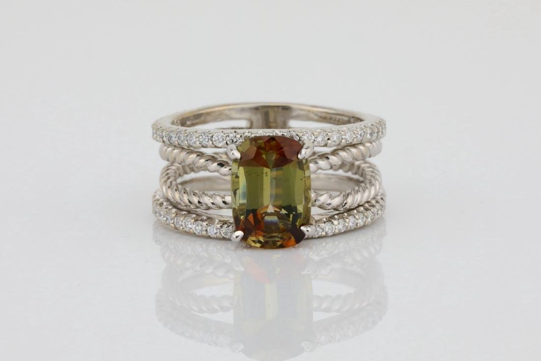 Lugano 2.50ct Sunstone, 0.85ctw Diamond 18K Ring