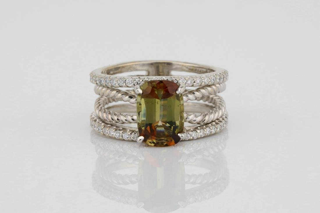 Lugano 2.50ct Sunstone, 0.85ctw Diamond 18K Ring