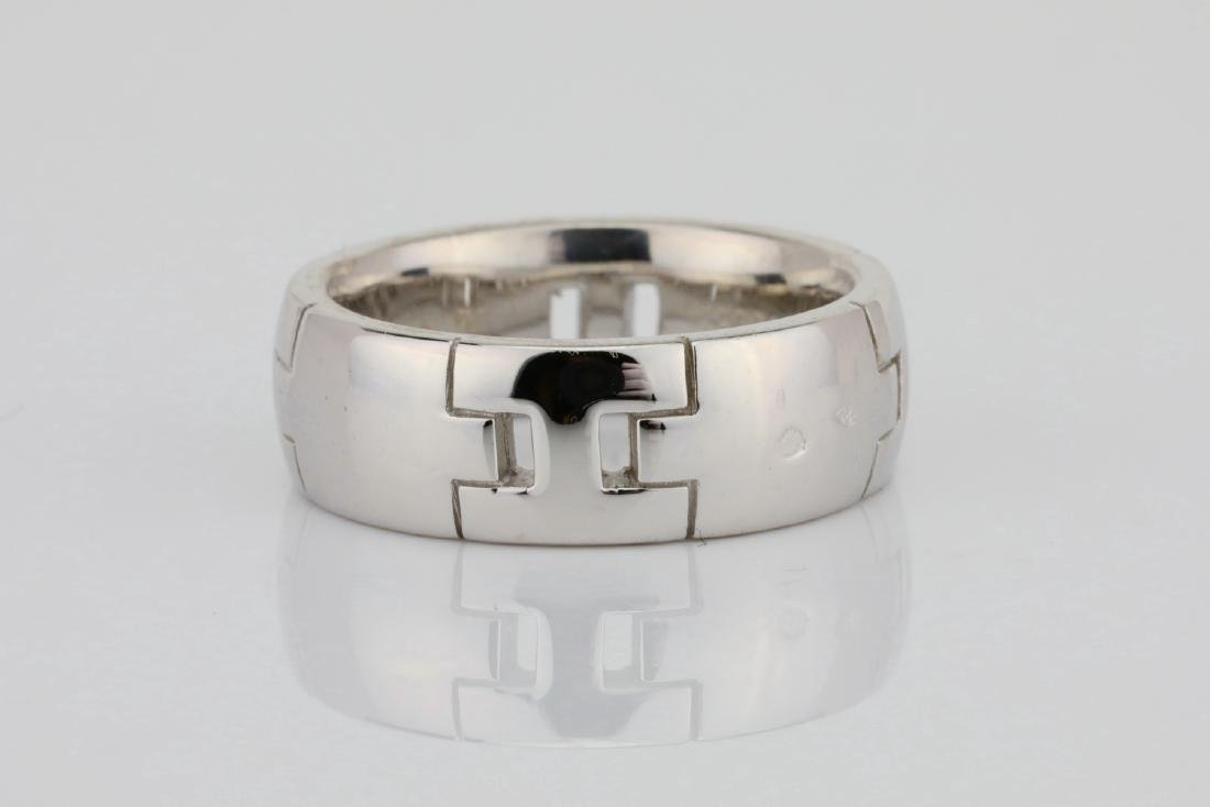 Hermes 18K White Gold 6.5mm Wide Classic H Band
