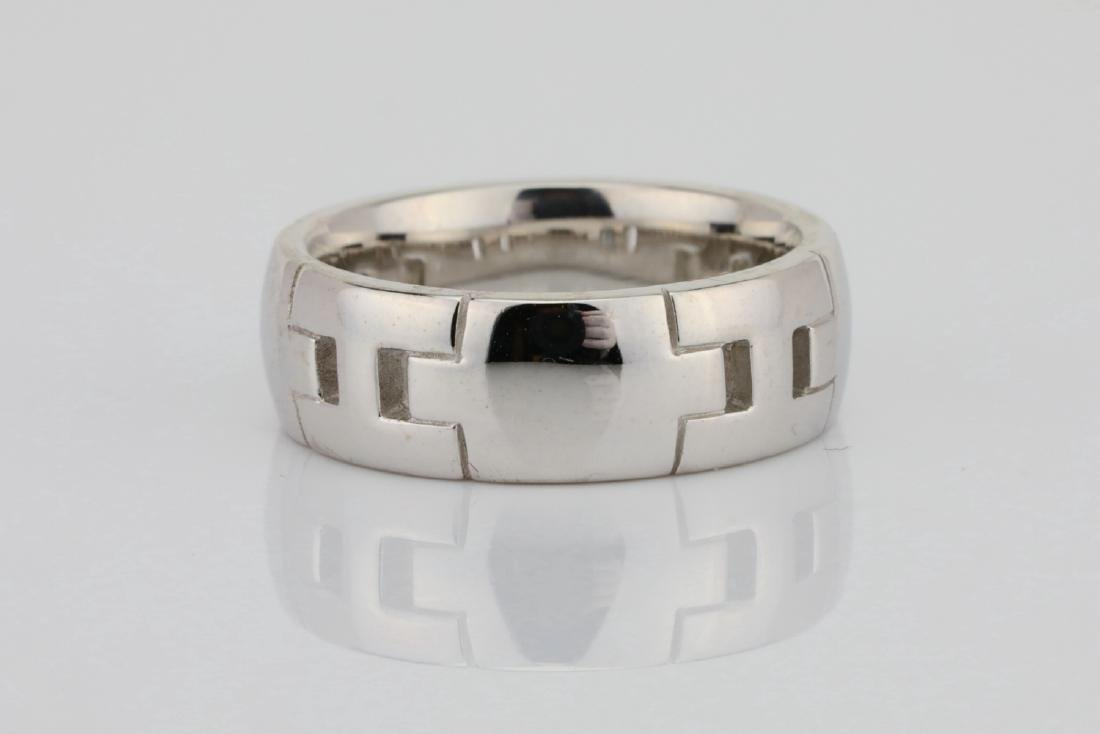 Hermes 18K White Gold 6.5mm Wide Classic H Band - 2