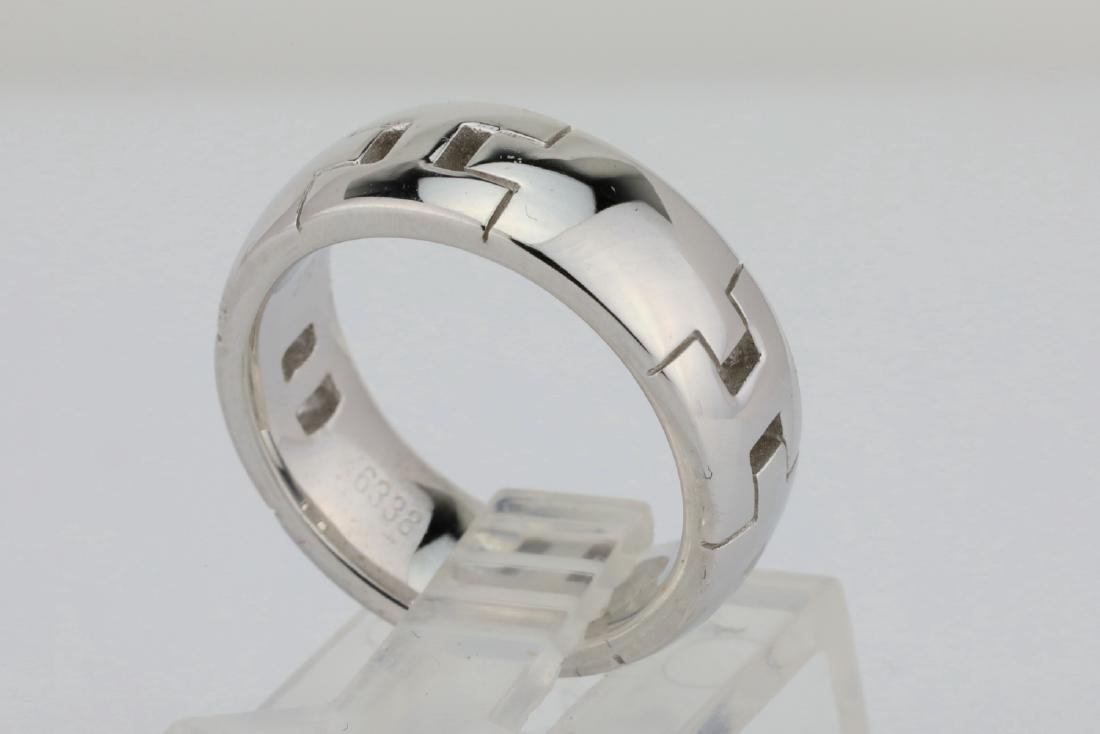 Hermes 18K White Gold 6.5mm Wide Classic H Band - 3