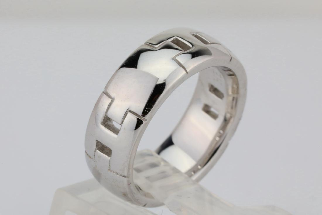 Hermes 18K White Gold 6.5mm Wide Classic H Band - 4