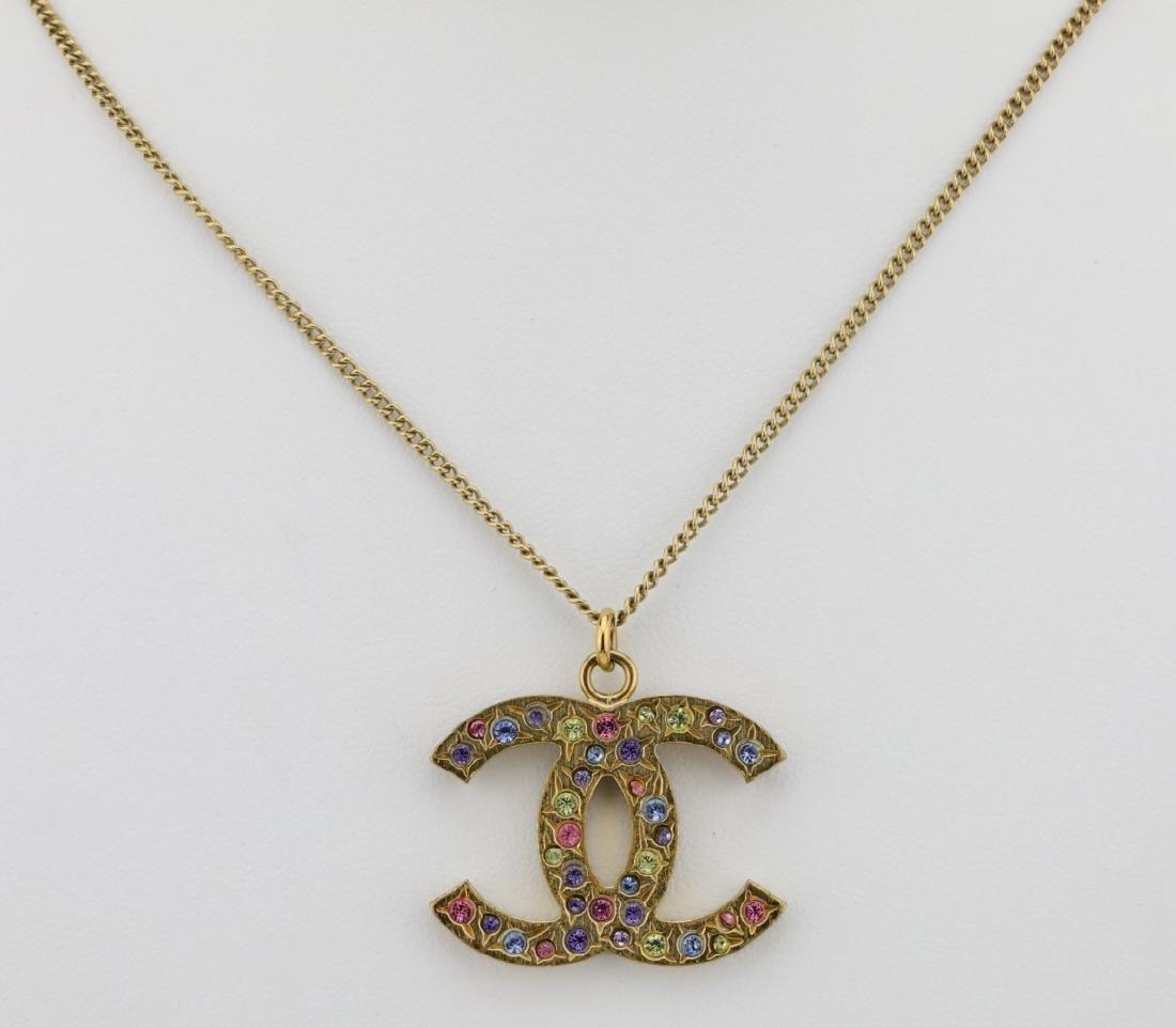 """Chanel 2006A Rhinestone CC Logo 25"""" Necklace"""