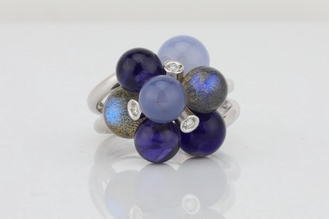 Lugano 8.50ctw Multi-Gemstone 18K Ring W/Diamonds