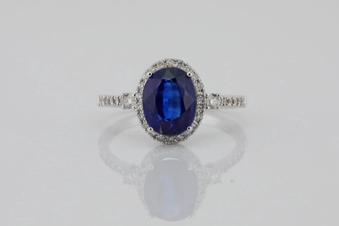 2.55ct Blue Kyanite, 0.30ctw Diamond & 14K Ring