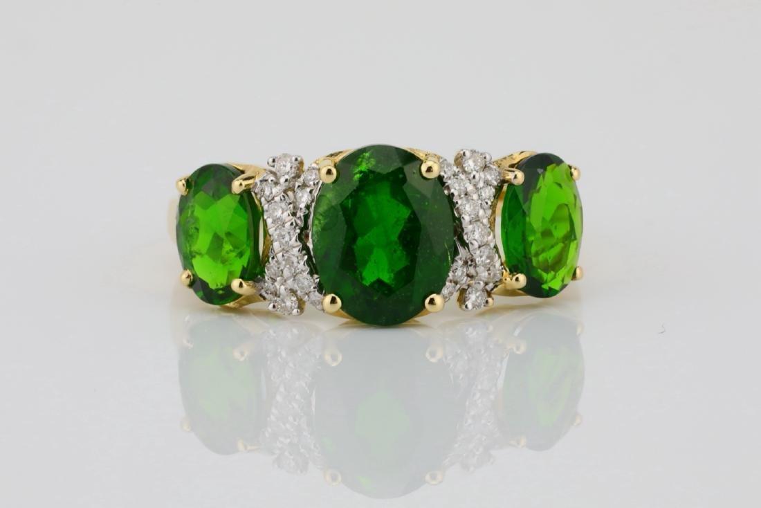 3.75ctw Chrome Diopside & 14K Ring W/Diamonds