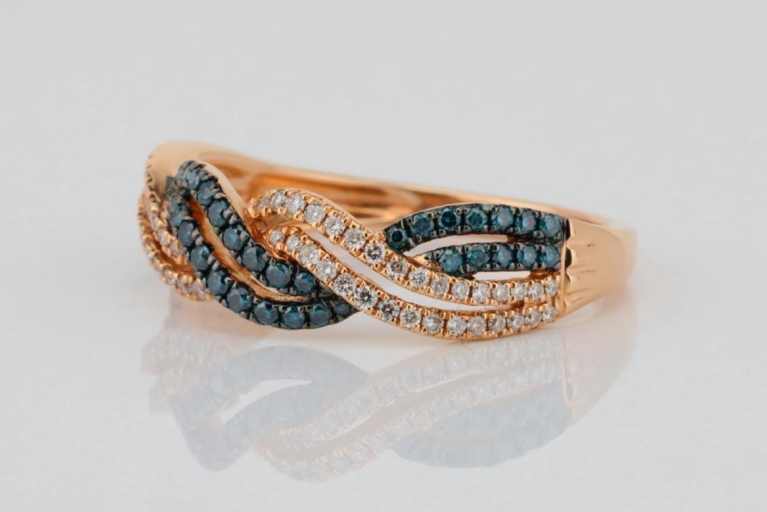14K 6mm Wide Band W/.40ctw Blue & White Diamonds - 2