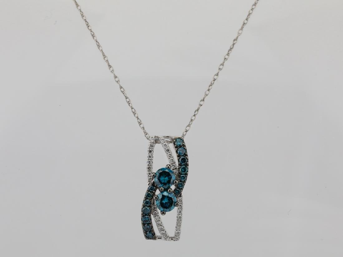 "14K & 0.75ctw Blue & White Diamond 18"" Necklace"