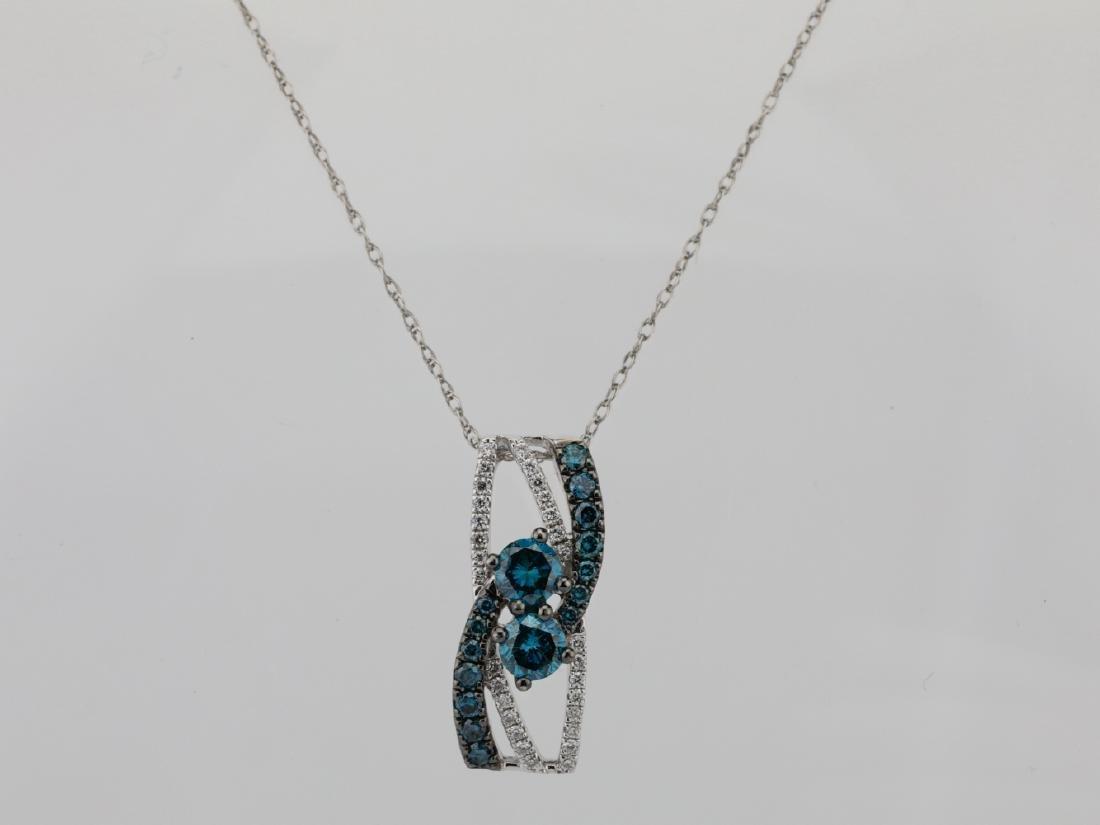 "14K & 0.75ctw Blue & White Diamond 18"" Necklace"