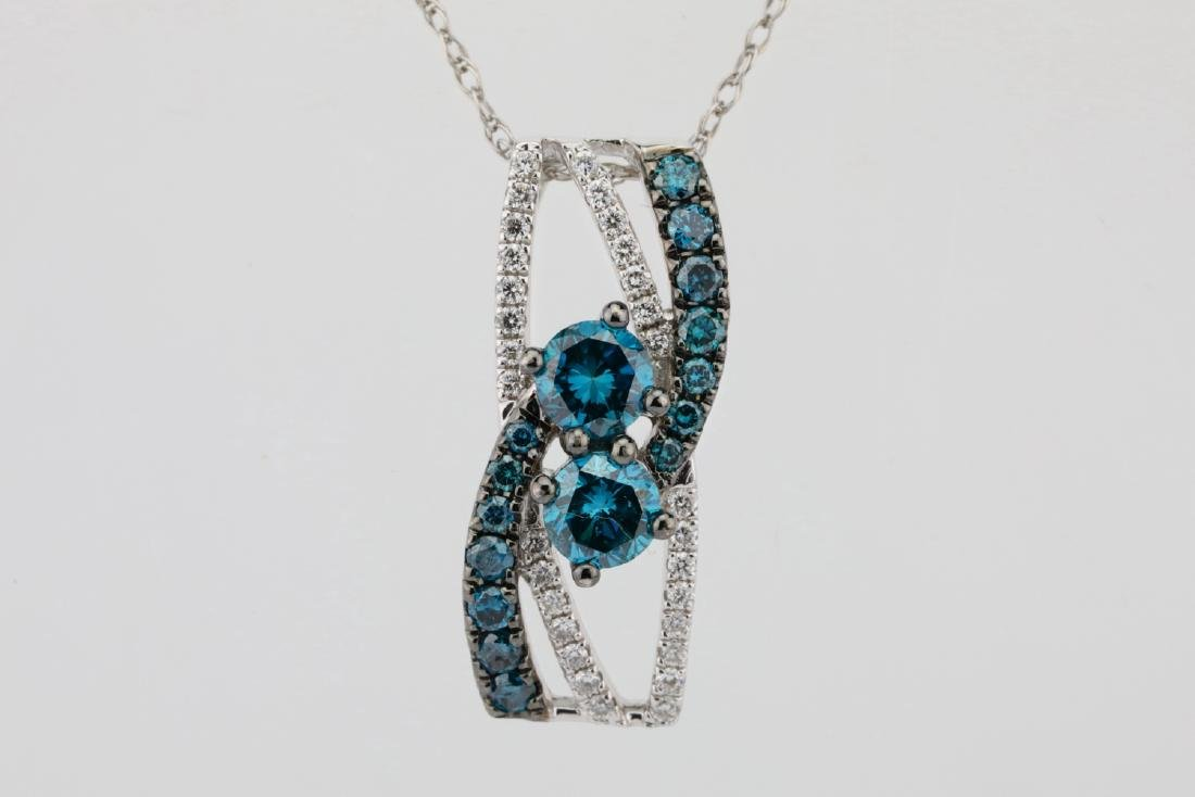 "14K & 0.75ctw Blue & White Diamond 18"" Necklace - 2"