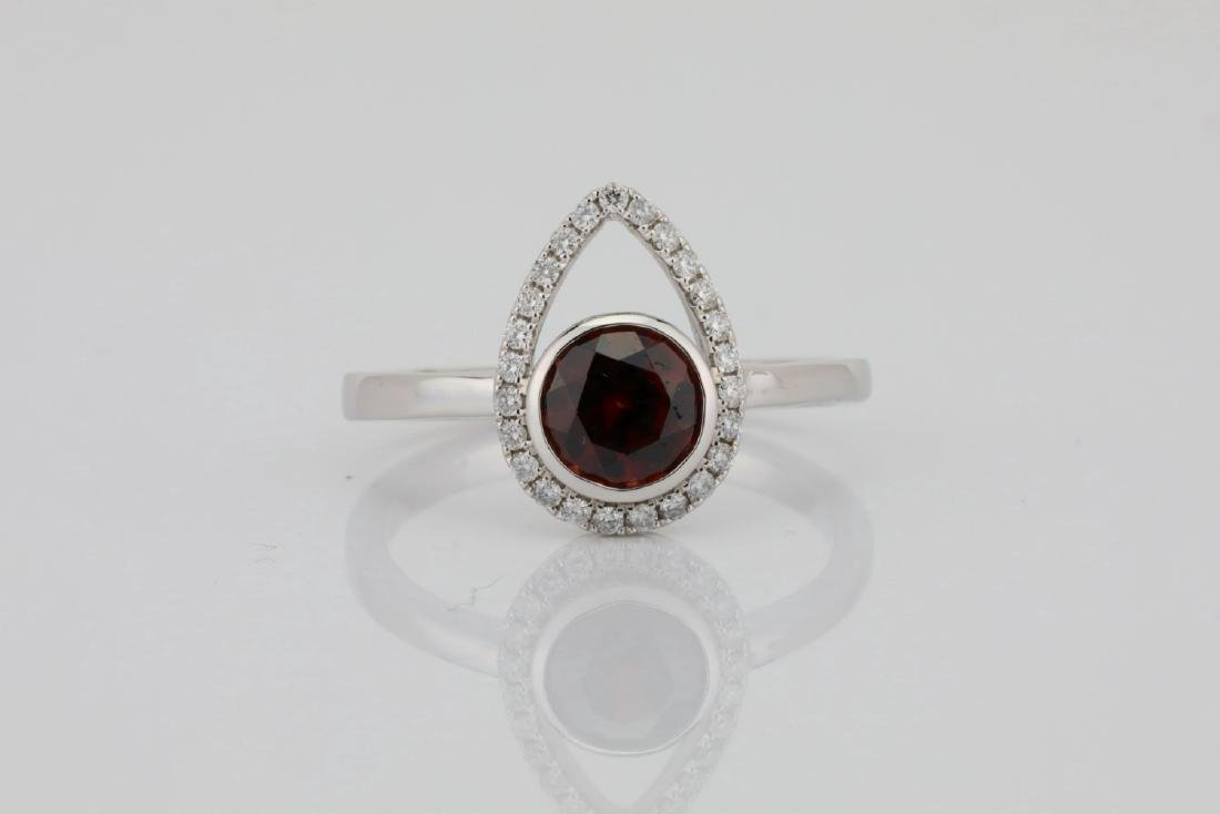 1.25ct Red Zircon & 14K Ring W/0.15ctw Diamonds