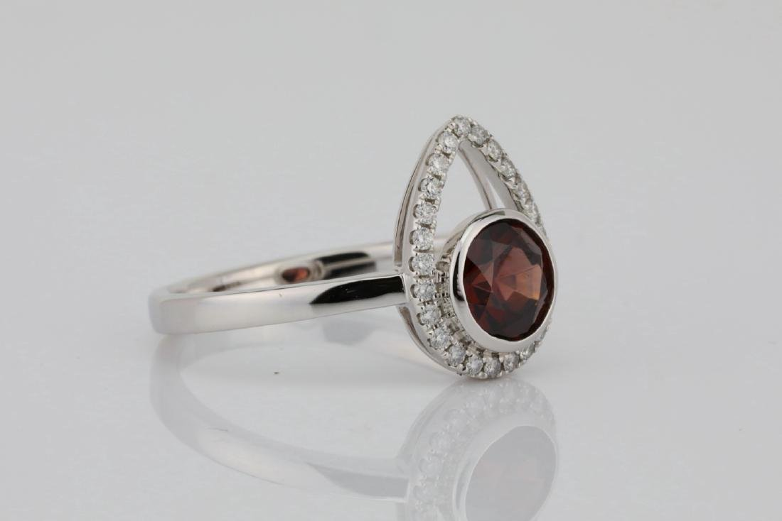 1.25ct Red Zircon & 14K Ring W/0.15ctw Diamonds - 3