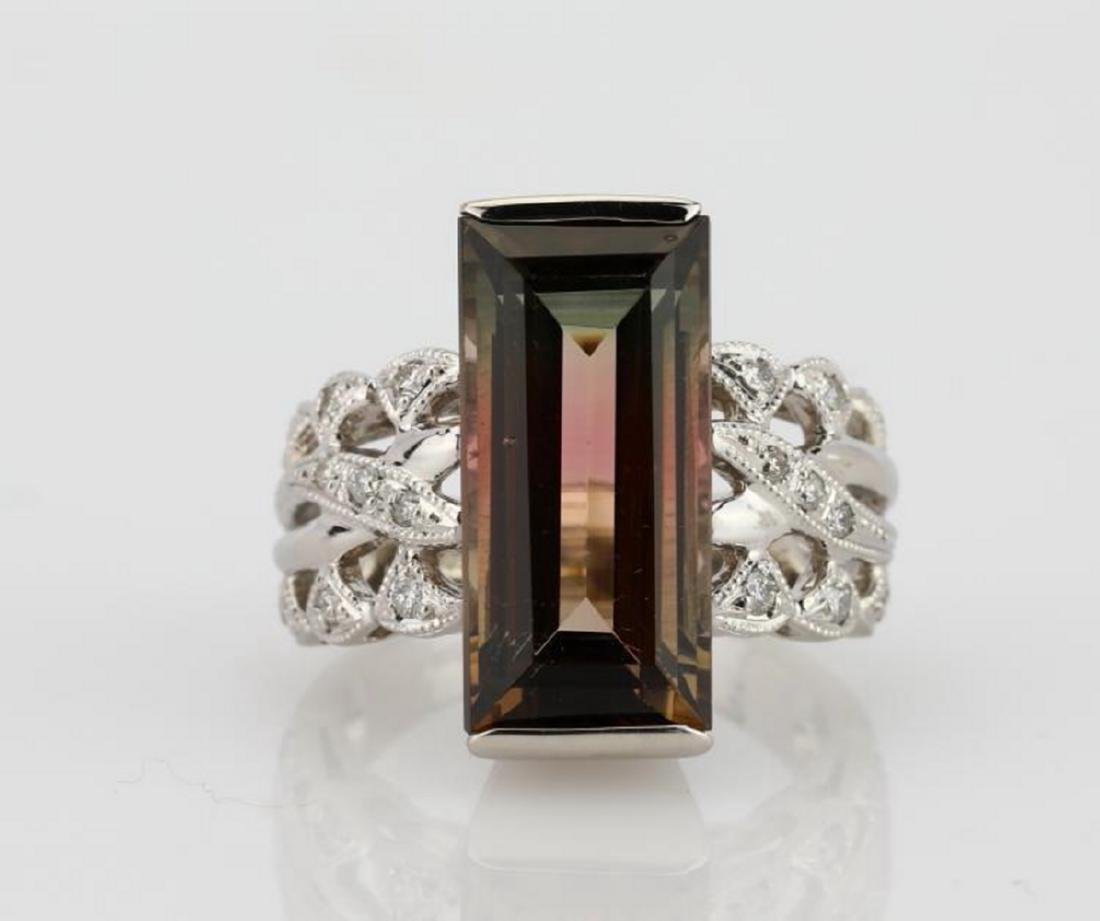 7.9ct Watermelon Tourmaline, Diamond Platinum Ring