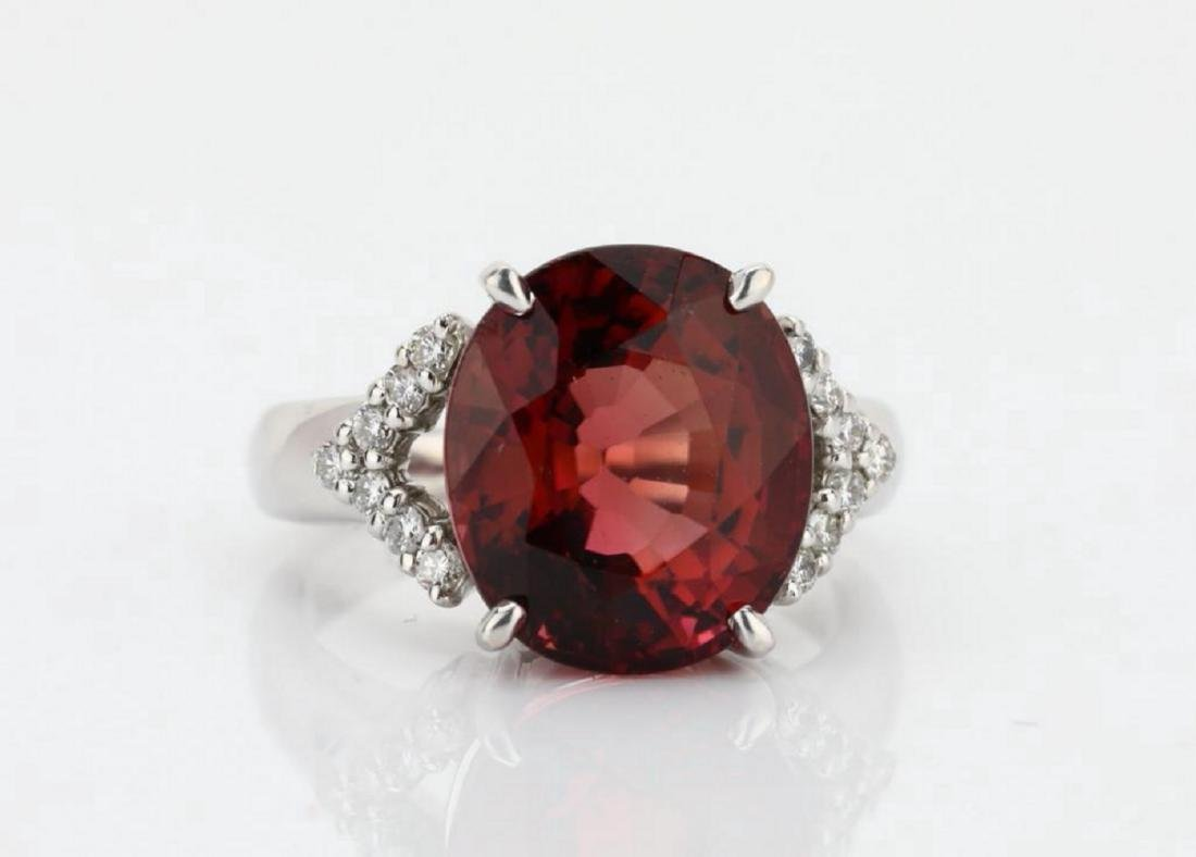 7.50ct Pink Tourmaline & 18K Ring W/Diamonds