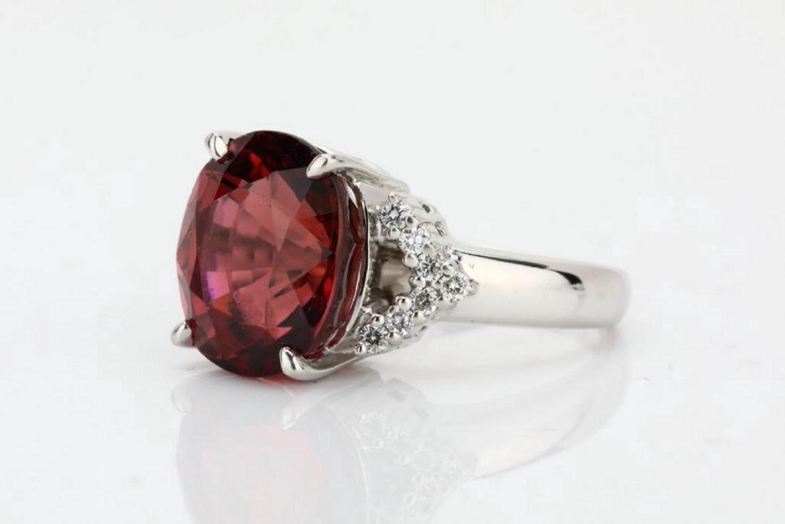 7.50ct Pink Tourmaline & 18K Ring W/Diamonds - 2