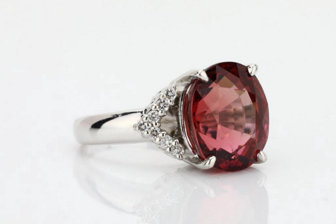 7.50ct Pink Tourmaline & 18K Ring W/Diamonds - 3