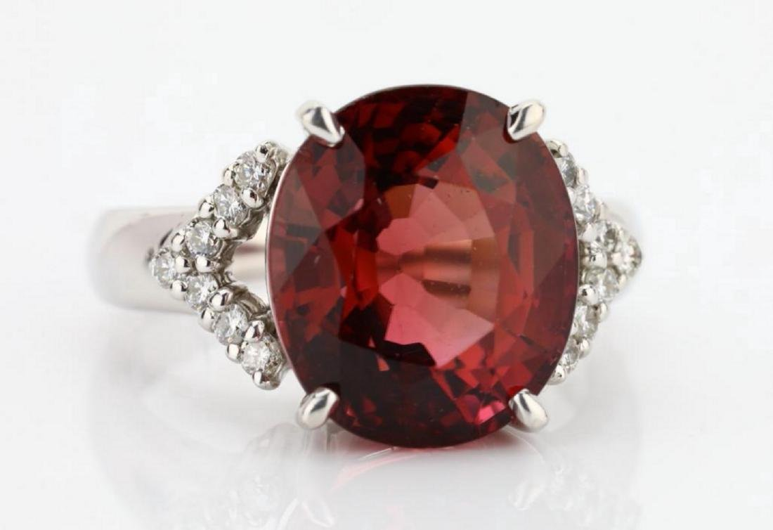 7.50ct Pink Tourmaline & 18K Ring W/Diamonds - 4