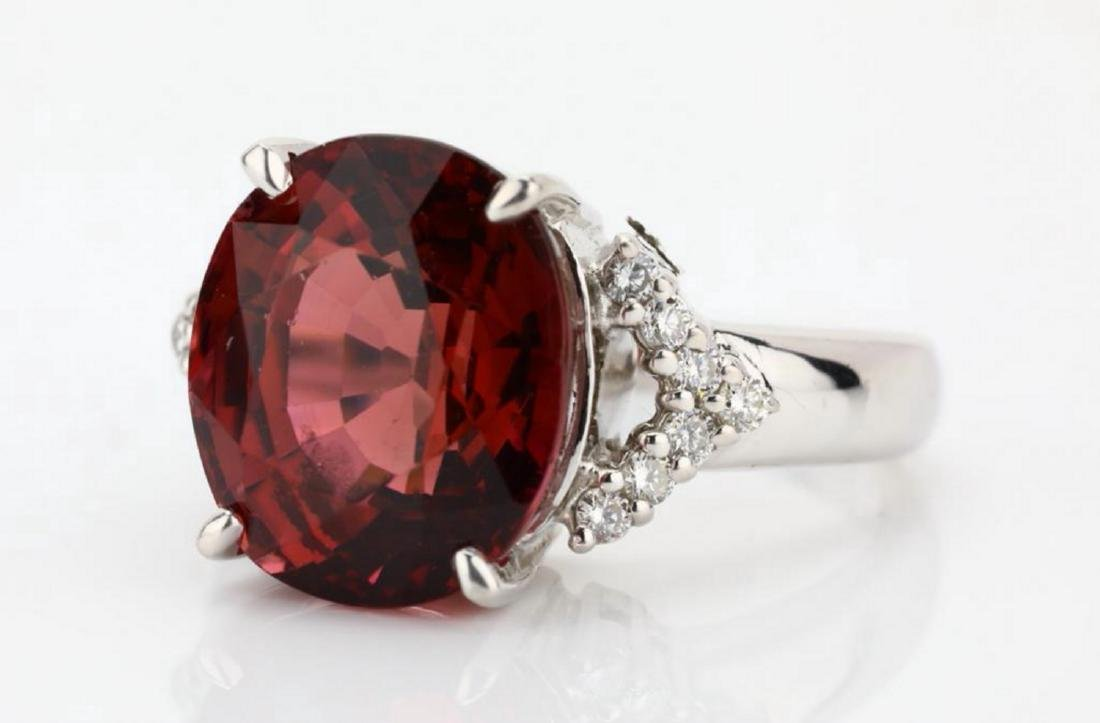 7.50ct Pink Tourmaline & 18K Ring W/Diamonds - 5