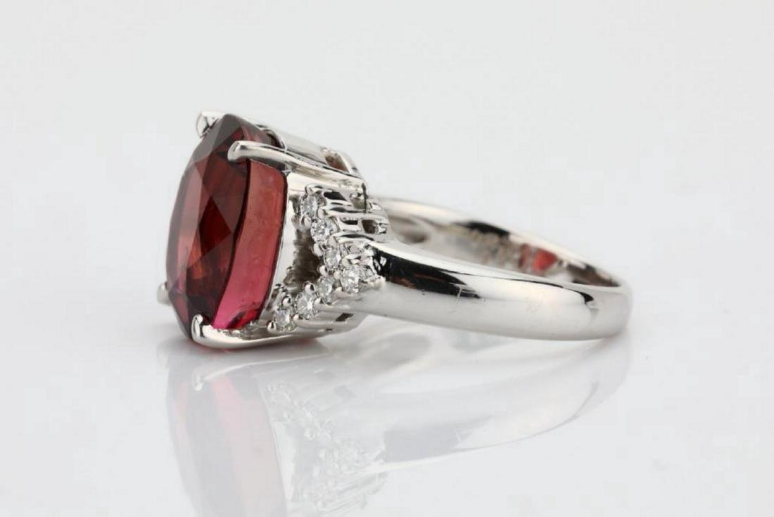 7.50ct Pink Tourmaline & 18K Ring W/Diamonds - 6