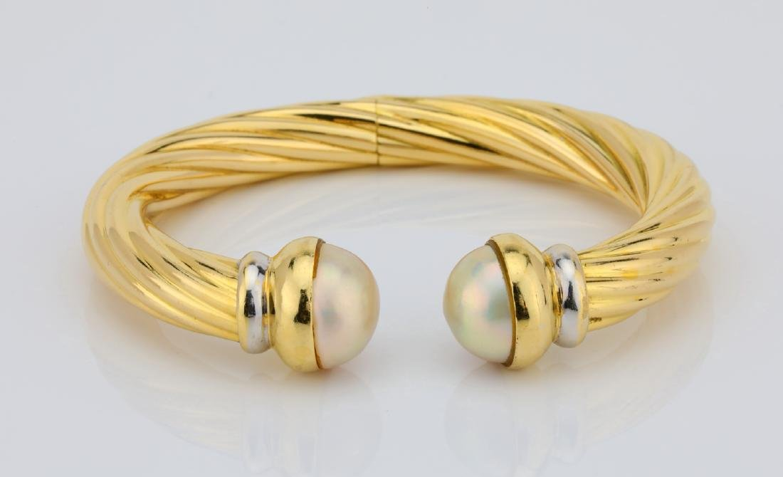 13.5mm Pearl & 18K Open Cuff Cable Bracelet