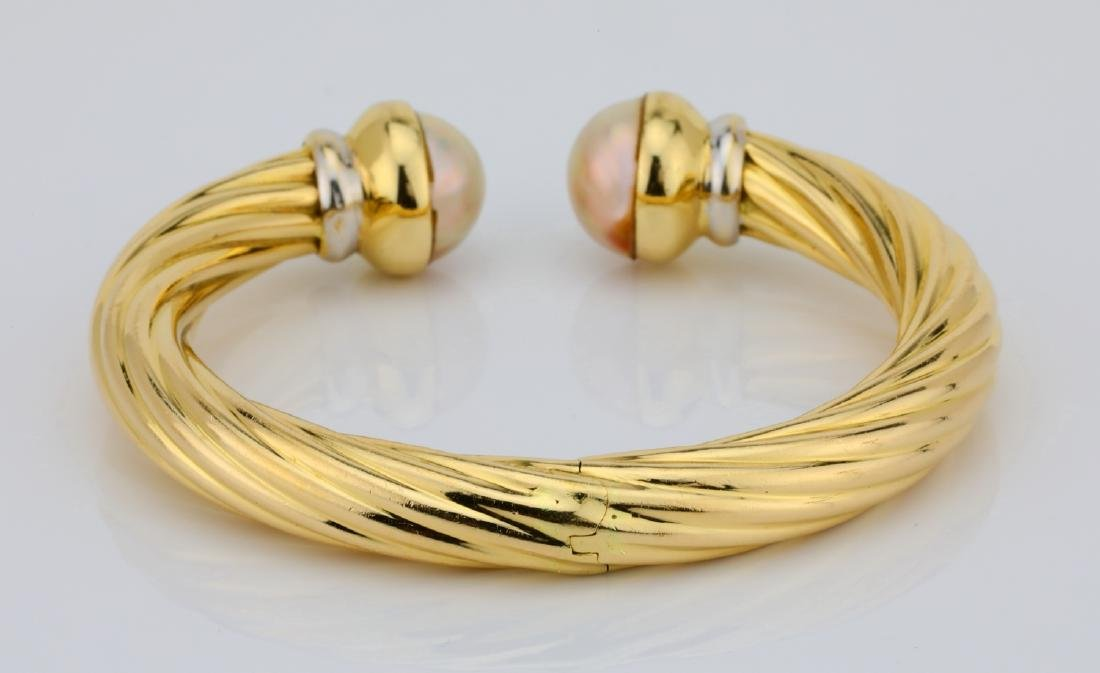 13.5mm Pearl & 18K Open Cuff Cable Bracelet - 2