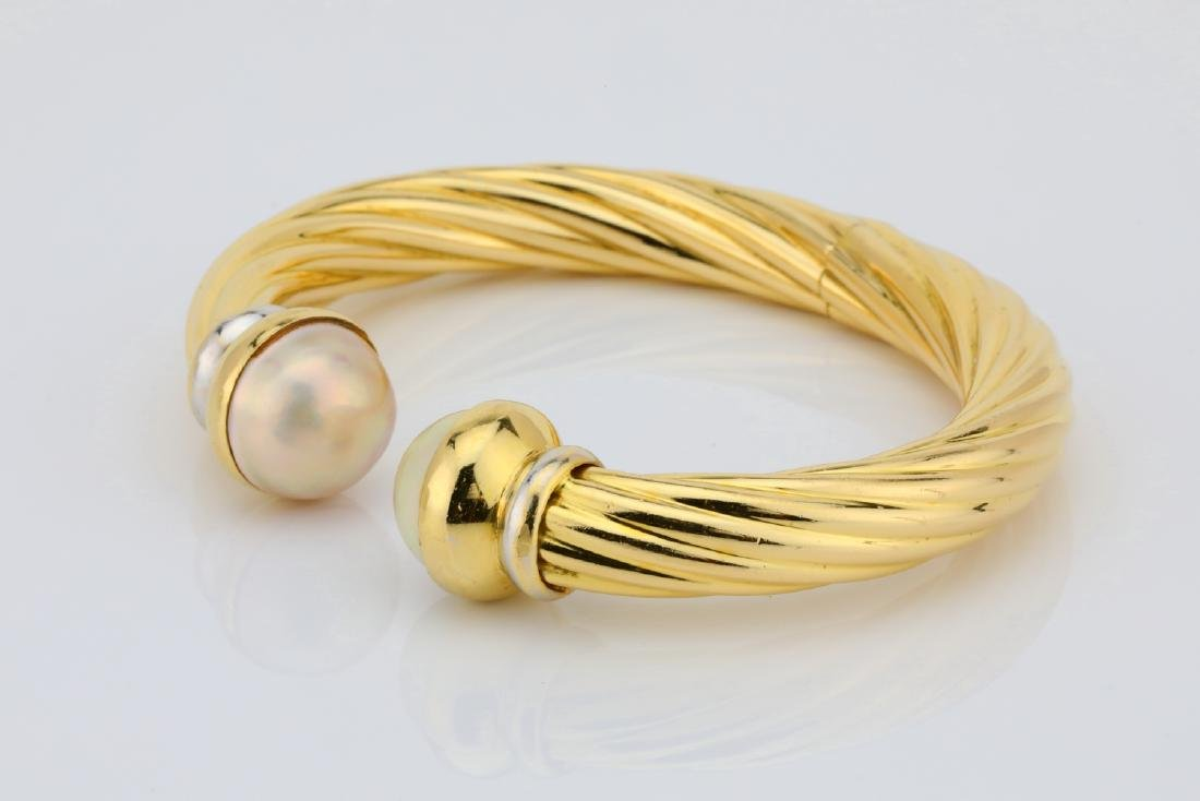 13.5mm Pearl & 18K Open Cuff Cable Bracelet - 3