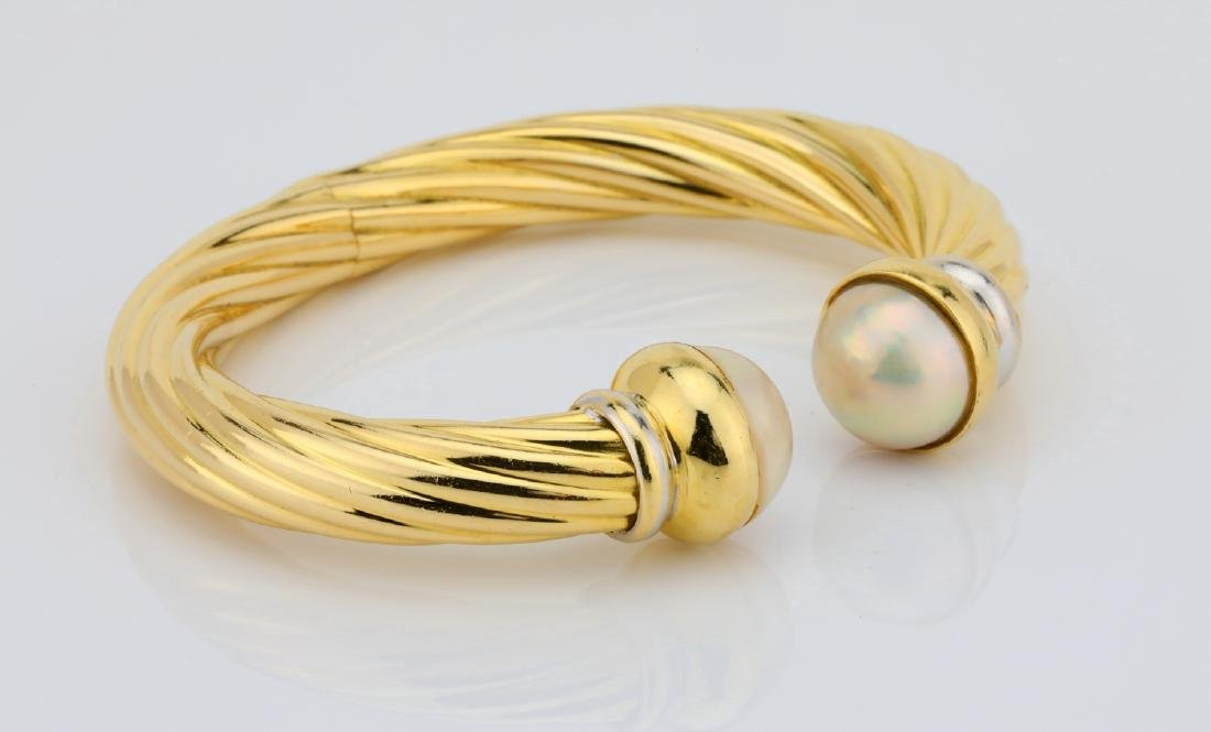 13.5mm Pearl & 18K Open Cuff Cable Bracelet - 4