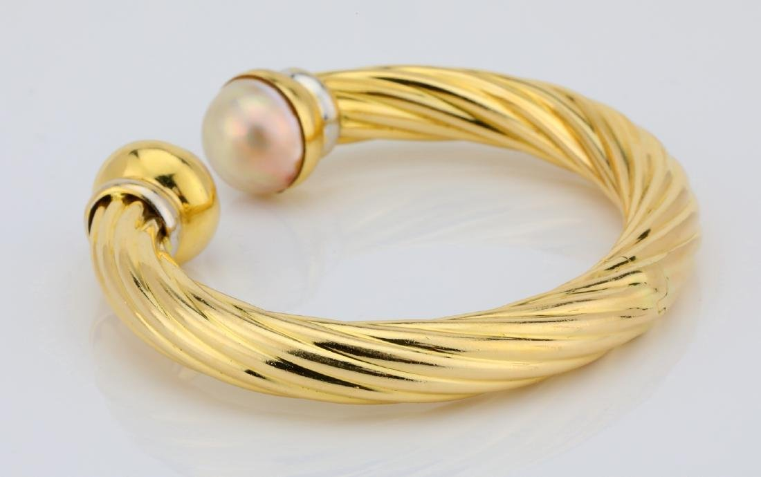 13.5mm Pearl & 18K Open Cuff Cable Bracelet - 5