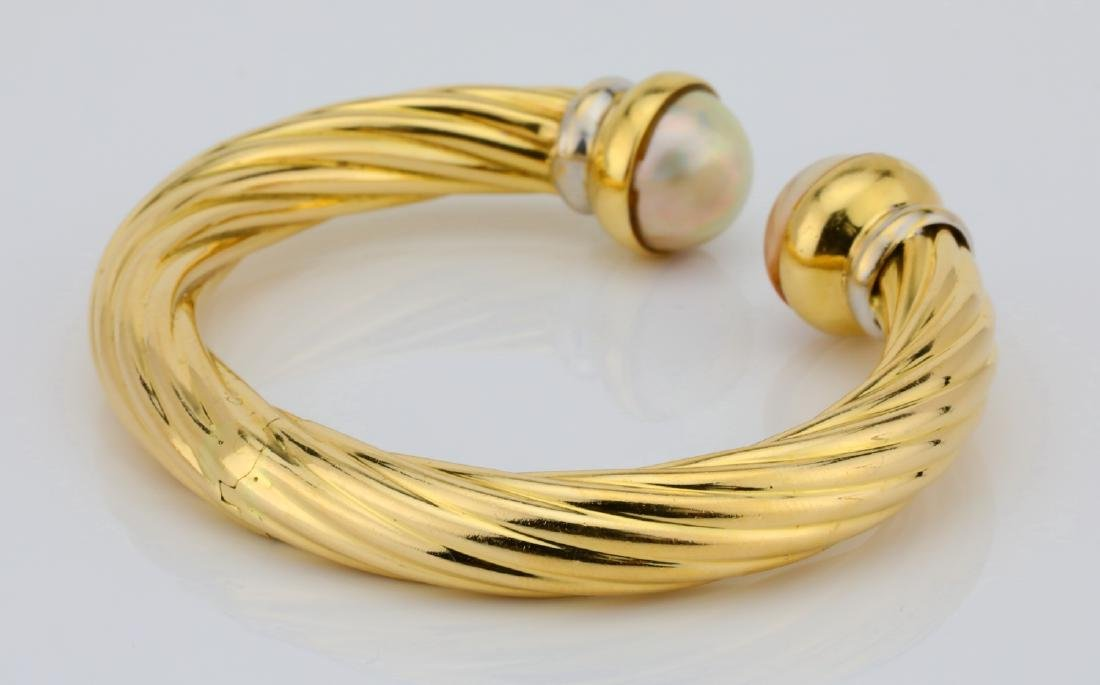 13.5mm Pearl & 18K Open Cuff Cable Bracelet - 6