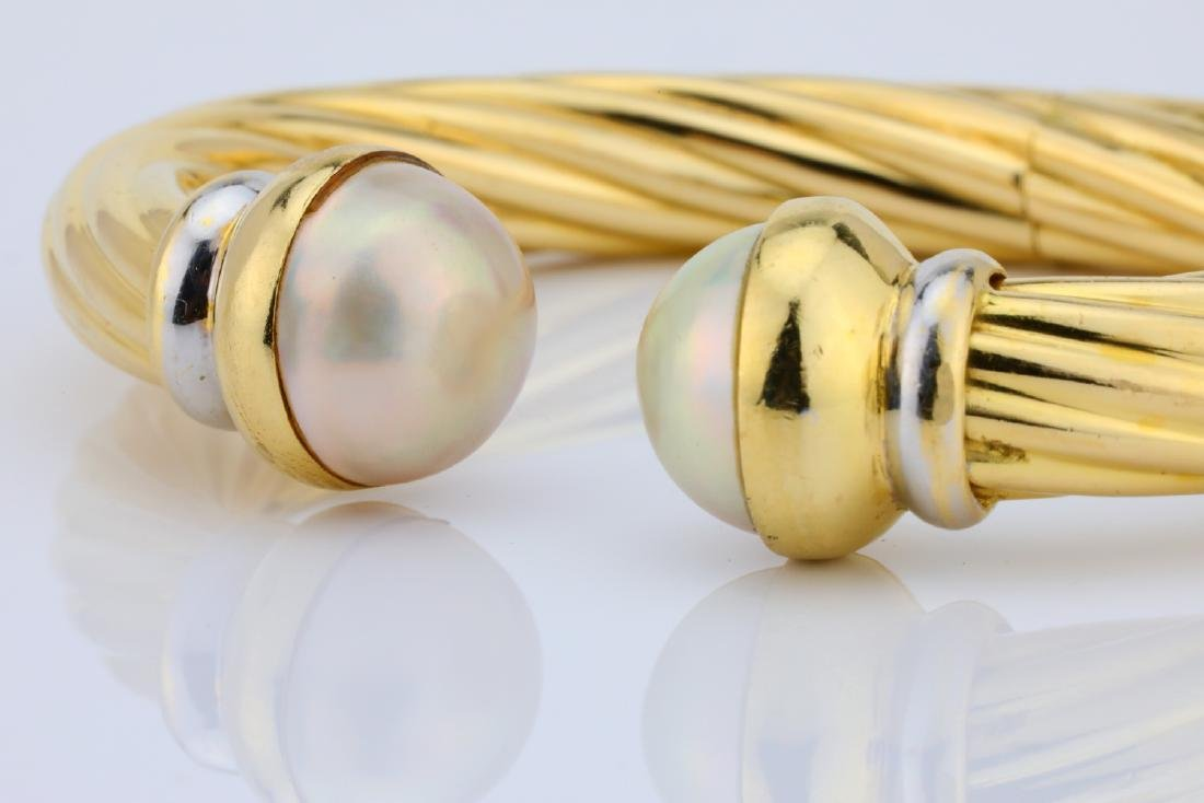 13.5mm Pearl & 18K Open Cuff Cable Bracelet - 7